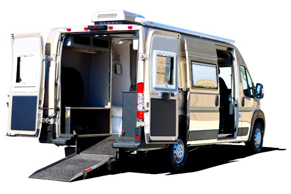 pathway wheelchair accessible rv with rear ramp deployed